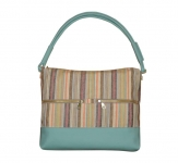 Hopetoun Fairtrade Linen Bag by Earth Squared Blue with Pastel Stripes