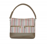 Hopetoun Fairtrade Linen Bag by Earth Squared Taupe with Pastel Stripes