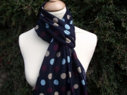 Jessica Jersey Scarf  Spotty Navy Blue