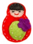 Katya Russian Doll Felt Brooch
