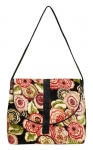 Kelso Floral Velvet Handbag Black Red & Green