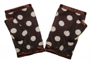 Laura Jersey Fingerless Gloves Spotty Brown