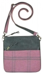 Messenger Plaid Tweed Handbag Grey & Pink