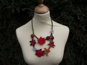 Minerva Crocheted Flower Necklace 2 Tier Red and Orange 