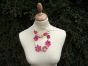 Minerva Flower Necklace 2 Tier Pink
