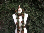 Passionara Pompom Scarf Green & Brown