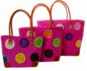 Rebecca Polka Dot Straw Fairtrade Beach or Shopping Bag