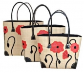 Poppies Raffia Straw  Fairtrade Beach or Shopping Bag