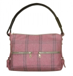 Portobello Plaid Tweed Handbag Grey & Pink