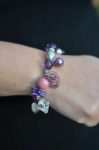 Beaded Purple and Pink elasticated Fair trade bracelet