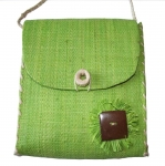 Dora Straw fairtrade Shoulder Bag Lime Green