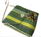 Dora straw fairtrade shoulder Bag Green Yellow