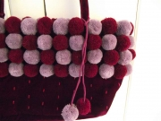 Plum velvet Fair Trade  bag with plum/lilac pompoms