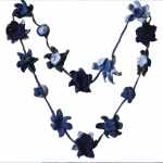 Suzanna Short Crochet Flower Necklace Blue