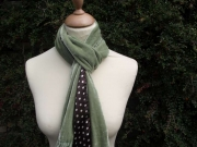Sophia Velvet Satin Scarf  Green & Brown