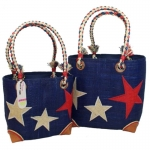 Stars Raffia Straw Fairtrade Beach or Shopping Bag