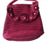 Amelia Crochet Shoulder Bag Burgundy