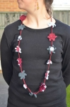Suzanna Short Crochet Flower Necklace Burgundy & Grey