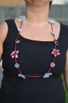 Suzanna Short Crochet Flower Necklace Grey & Red