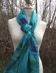 Threads of Passion Hand woven silk and Cotton Fairtrade Scarf Green and Blue