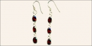 Triple Garnet Earrings