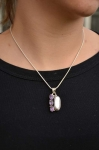 Triple amethyst and Mother of Pearl Pendant