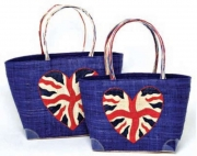 Heart Union Jack  Straw  Fairtrade Beach or Shopping Bag