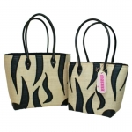 Zebra Raffia Straw  Fairtrade Beach or Shopping Bag
